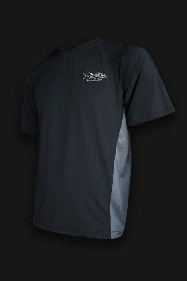 Short Sleeve Black Fishing Shirt - Tormenter Ocean Fishing Gear Apparel Boating SPF Surfing Watersports