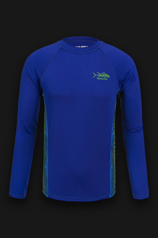 """Side To"" Vented Performance Fishing Shirt - Blue, Mahi - Tormenter Ocean Fishing Gear Apparel Boating SPF Surfing Watersports"