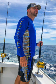 """Side To"" Vented Performance Fishing Shirt - Blue, Marlin - Tormenter Ocean Fishing Gear Apparel Boating SPF Surfing Watersports"