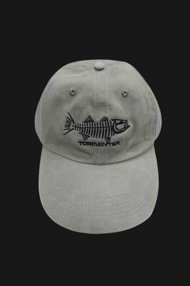 Stone Washed Grey Fishing Cap Striper - Tormenter Ocean Fishing Gear Apparel Boating SPF Surfing Watersports