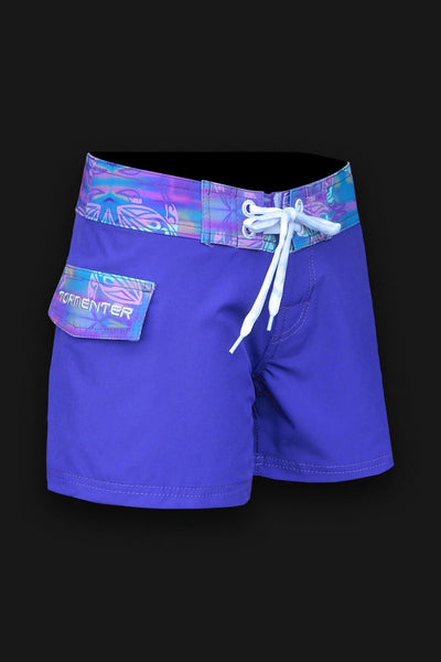 "Tormenter Women's 8 Way Stretch 6"" Board Shorts - Violet Turtle - Tormenter Ocean Fishing Gear Apparel Boating SPF Surfing Watersports"