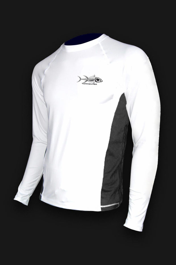 White Raging Tuna Long Sleeve Fishing Shirt - Tormenter Ocean Fishing Gear Apparel Boating SPF Surfing Watersports