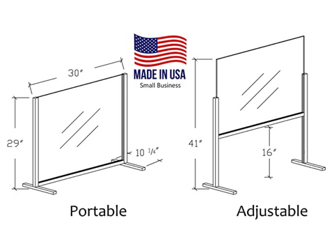 MADE IN USA - Adjustable Portable Sneeze Guard Barrier