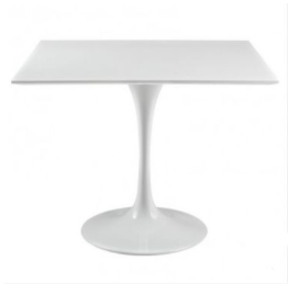 "36"" SQUARE WOOD TOP DINING TABLE IN WHITE"