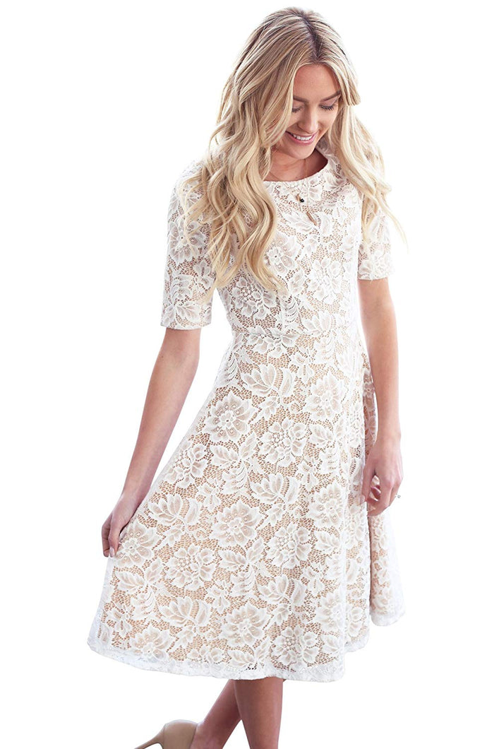 Sloan in White Lace & Nude