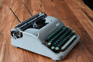 Eaton's Manual Typewriter - Metallic Gray and Green - 100% Functional - Comes w/ Case and Black Ink Ribbon - Small Pica Font - Smith Corona