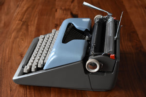 Royal Futura 800 Typewriter - Two Tone Blue & Gray - 100% Functional - Comes with Fresh Ribbon and Original Case - Working