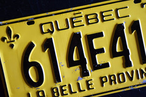 1974 Quebec License Plate - 614E412 - Vintage Automobile ID - Wall Hanging - Industrial Decor -  Canadian Provinces
