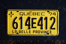 Load image into Gallery viewer, 1974 Quebec License Plate - 614E412 - Vintage Automobile ID - Wall Hanging - Industrial Decor -  Canadian Provinces