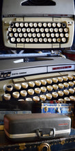 Load image into Gallery viewer, Smith Corona Classic 12 Portable Manual Typewriter - Light Gray and Sandy Color - Made in Canada - Comes with Fresh Black Ink Ribbon - 100% Functional