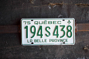 1975 Quebec License Plate - 194S438 - Vintage Automobile ID - Wall Hanging - Industrial Decor -  Canadian Provinces