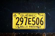 Load image into Gallery viewer, 1974 Quebec License Plate - 297E506 - Vintage Automobile ID - Wall Hanging - Industrial Decor -  Canadian Provinces