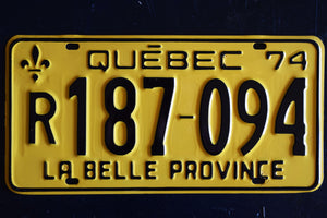 1974 Quebec License Plate - R187-094 - Vintage Automobile ID - Wall Hanging - Industrial Decor -  Canadian Provinces
