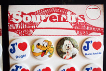 Load image into Gallery viewer, 1980s Macaron Display Sheets with Name Pins - Set of 2 Sheets - 24 Button Pins Total - French Language - Made in Shawinigan, Quebec Canada