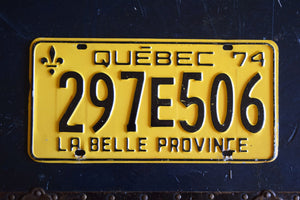 1974 Quebec License Plate - 297E506 - Vintage Automobile ID - Wall Hanging - Industrial Decor -  Canadian Provinces