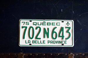 1975 Quebec License Plate - 702N643 - Vintage Automobile ID - Wall Hanging - Industrial Decor -  Canadian Provinces