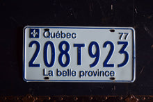 Load image into Gallery viewer, 1977 Quebec License Plate - 208T923 - Vintage Automobile ID - Wall Hanging - Industrial Decor -  Canadian Provinces