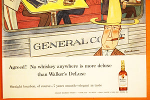 "Walker's Deluxe Whiskey Liquor Advertisement - LIFE Magazine Ad - 14""x10"" Sheet - 100% Original - 1950s - Mid Century Vintage Alcohol Advert"