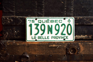 1975 Quebec License Plate - 139N920 - Vintage Automobile ID - Wall Hanging - Industrial Decor -  Canadian Provinces