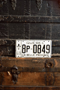 1969 Quebec License Plate - 8P-0849 - Vintage Automobile ID - Wall Hanging - Industrial Decor -  Canadian Provinces