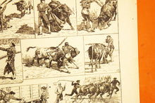 "Load image into Gallery viewer, Antique Bullfighting Lithograph - 11""x7.25"" - 1920s Larousse - French Litho Print - Printed in Paris, France - 100% Original - Taureux"