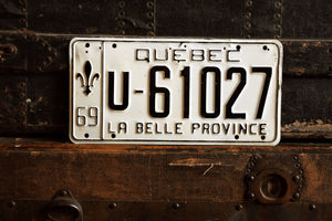 1969 Quebec License Plate - U-61027 - Vintage Automobile ID - Wall Hanging - Industrial Decor -  Canadian Provinces