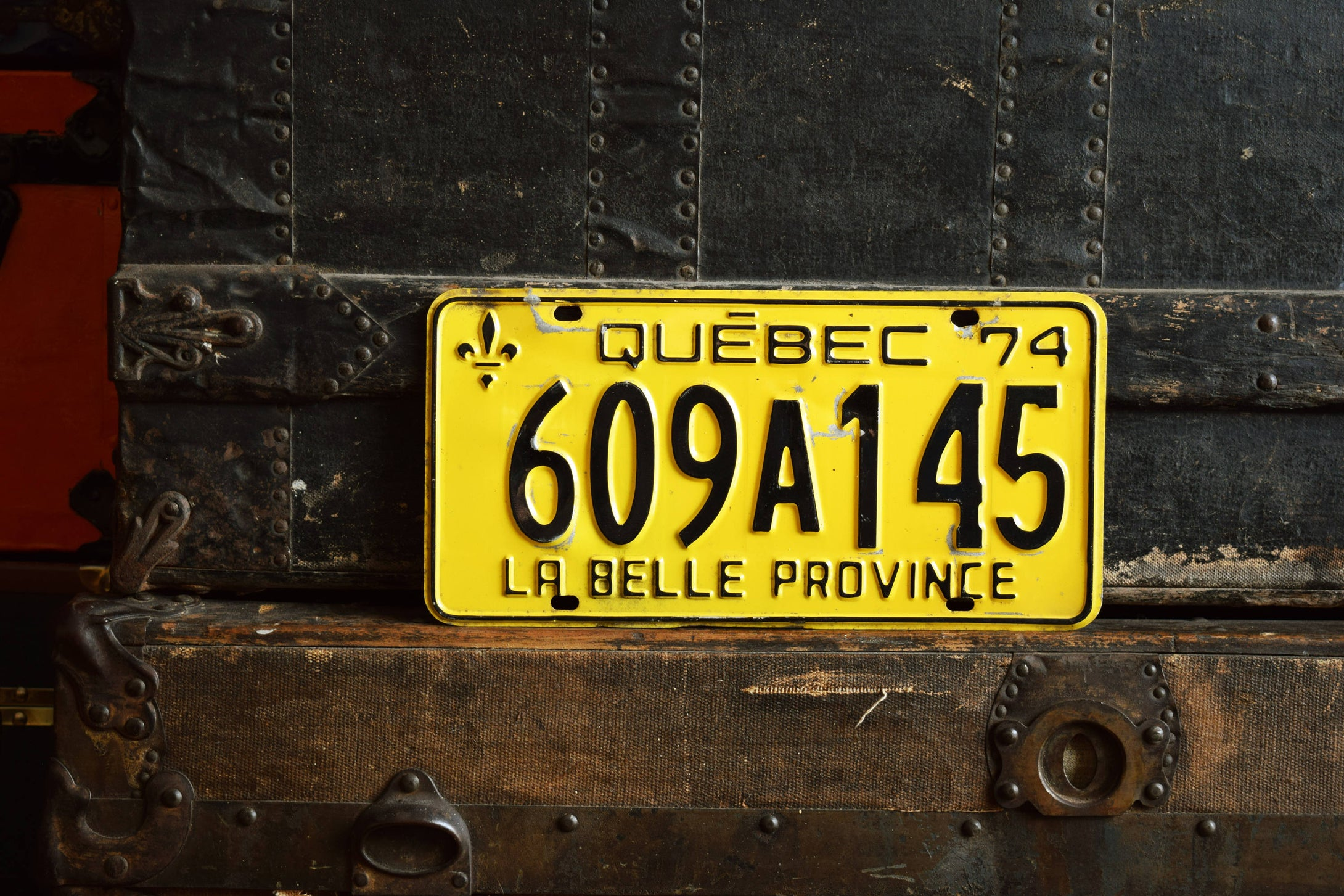 1974 Quebec License Plate - 609A145 - Vintage Automobile ID - Wall Hanging - Industrial Decor -  Canadian Provinces