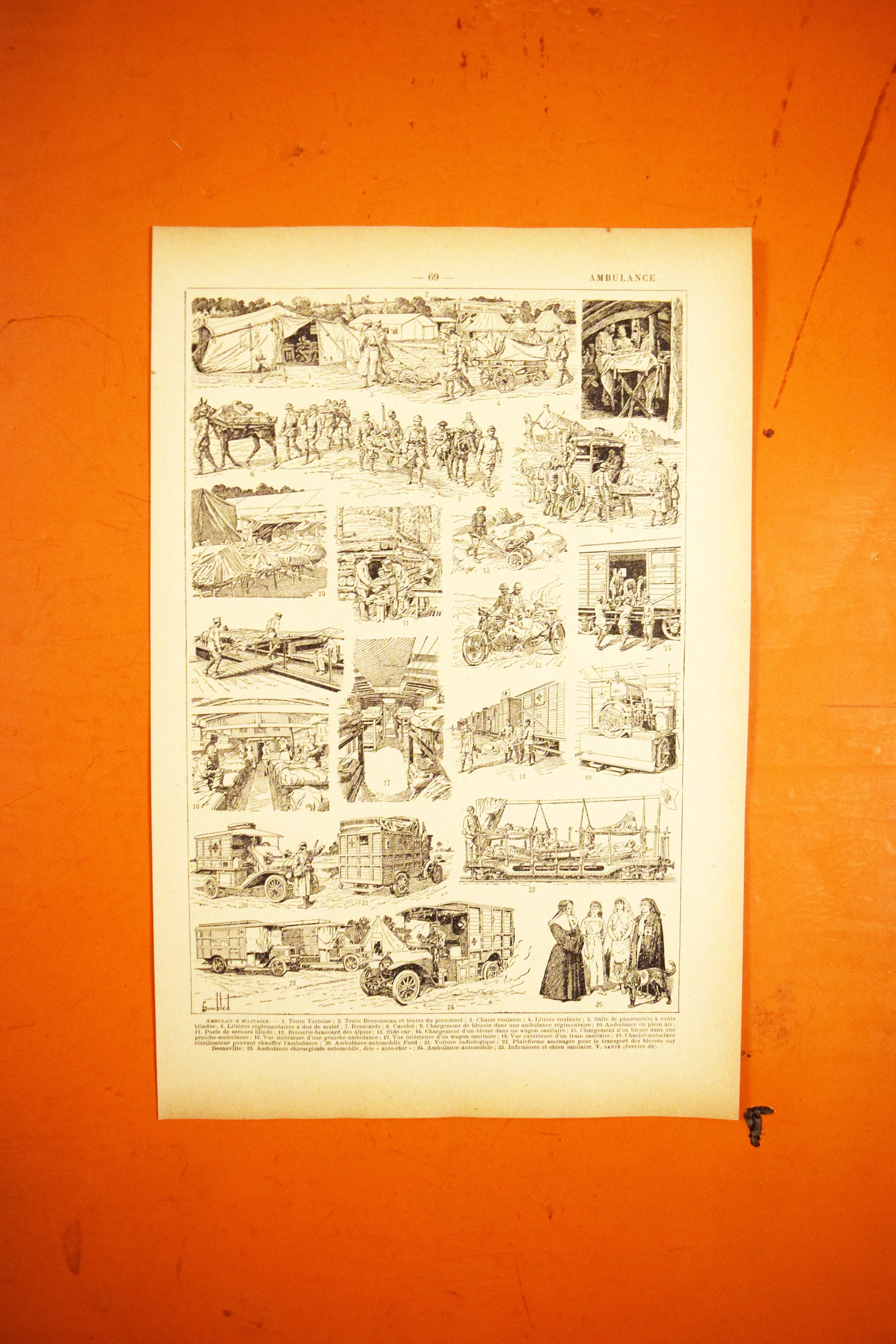 Ambulance Lithograph - 1920s Larousse - French Litho Sheet - Printed in Paris, France - 100% Original
