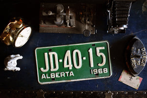 1968 Alberta License Plate - JD-40-15 - Vintage Automobile ID - Wall Hanging - Industrial Decor -  Canadian Provinces