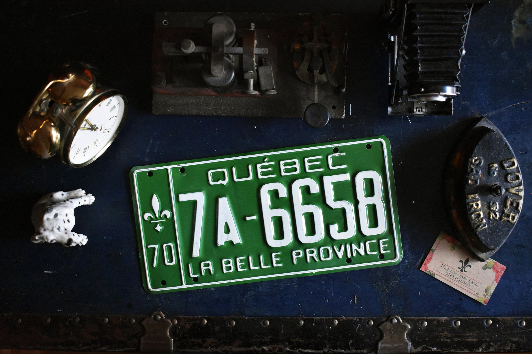 1970 Quebec License Plate - 7A-6658 - Vintage Automobile ID - Wall Hanging - Industrial Decor -  Canadian Provinces