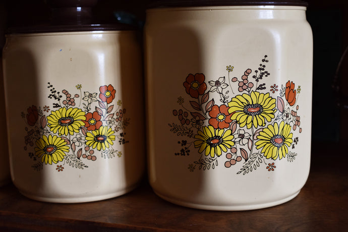 Vintage Kromex Lidded Kitchen Canister Set of 4 - 1970s Home Decor - Aluminium Canisters - Retro Brown & Yellow Flowers - Made in the USA
