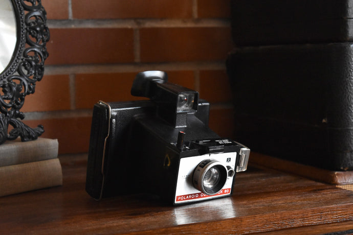 Polaroid ColorPack 80 Land Camera - Silver and Red Plate - Black Plastic Strap - Made in the Netherlands