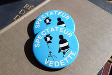 Load image into Gallery viewer, Spectateur Vedette Button Top Lapel Pin - Celebrity Spectator - Vintage Badge - French Movie Film Pins - Baby Blue - Movies - On Set