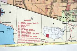 "1940s Map of Arizona State - 14.25""x10.25"" - United States - Hammond's Ambassador World Atlas - Printed in the USA - Antique Maps to Frame"