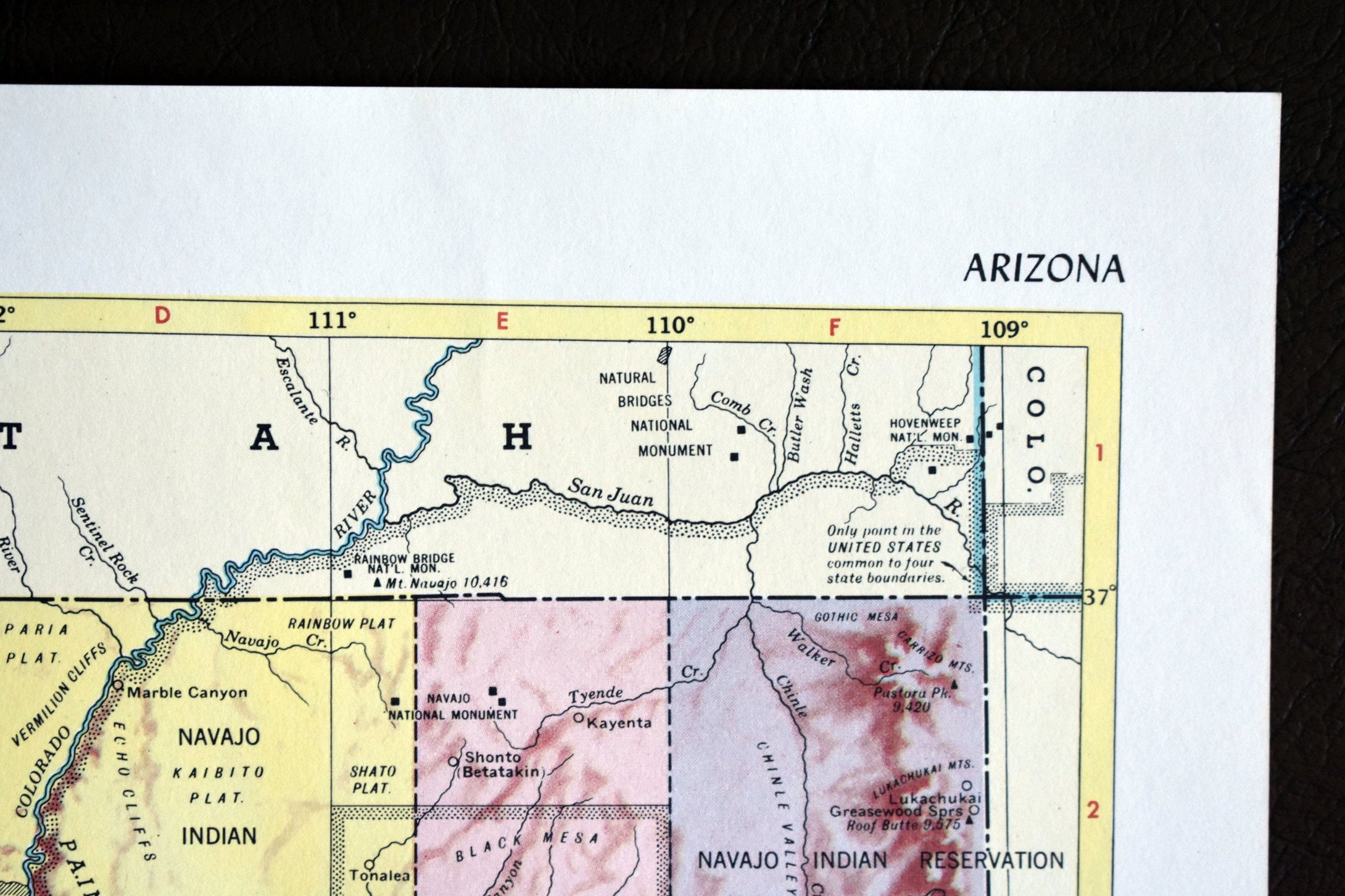 1940s Map of Arizona State - 14.25