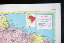 "Load image into Gallery viewer, 1940s Map of Brazil - 14.25""x10.25"" - Vintage World Maps - Hammond's Ambassador World Atlas - Printed in the USA - Antique Maps to Frame"