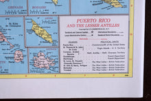 "Load image into Gallery viewer, 1940s Map of Puerto Rico & Lesser Antilles - 14.25""x10.25"" - Hammond's Ambassador World Atlas - Printed in the USA - Antique Maps to Frame"