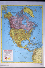 "Load image into Gallery viewer, 1940s Map of North America - 14.25""x10.25"" - Hammond's Ambassador World Atlas - Printed in the USA - Antique Maps to Frame"