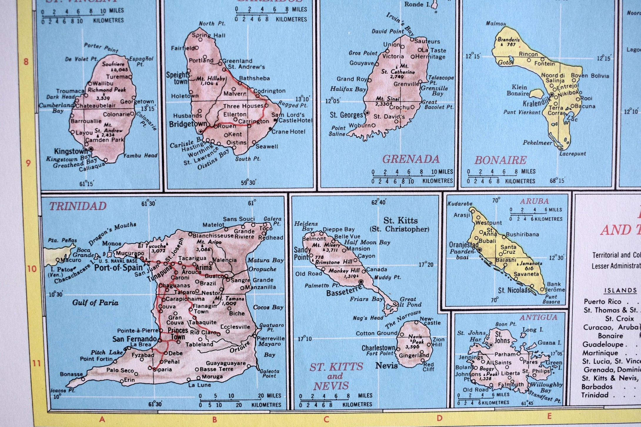 1940s Map of Puerto Rico & Lesser Antilles - 14.25