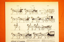 "Load image into Gallery viewer, Antique Horse & Buggy Lithograph - 11.5""x7.25"" - French 1920s Larousse - Printed in Paris, France - Courses - Horses and Carriages"