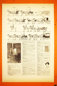 "Antique Horse & Buggy Lithograph - 11.5""x7.25"" - French 1920s Larousse - Printed in Paris, France - Courses - Horses and Carriages"