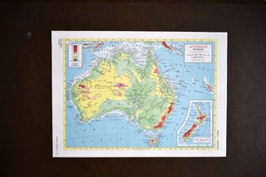 "1940s Map of Australia  - 10.25""x14.25"" - Physical Relief - Hammond's Ambassador World Atlas - Printed in USA - Antique Maps to Frame"