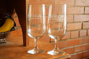 Molson Beer Glasses- Set of 2 Drinking Coupes - MOLSON BEER - Montreal, Quebec - Vintage Alcohol Advertising Collectibles - Beverage Cups