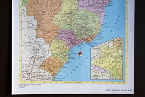 "1940s Map of Brazil - 14.25""x10.25"" - Vintage World Maps - Hammond's Ambassador World Atlas - Printed in the USA - Antique Maps to Frame"
