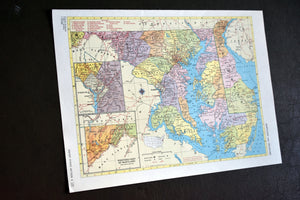 "1940s Map of Maryland & Delaware State - 10.25""x14.25"" - Hammond's Ambassador World Atlas - Printed in the USA - Antique Maps to Frame"