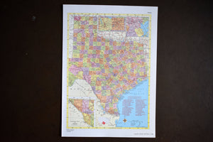 "1940s Map of Texas State - 14.25""x10.25"" - Hammond's Ambassador World Atlas - Printed in the USA - Antique Maps to Frame"