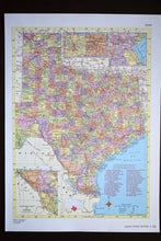 "Load image into Gallery viewer, 1940s Map of Texas State - 14.25""x10.25"" - Hammond's Ambassador World Atlas - Printed in the USA - Antique Maps to Frame"