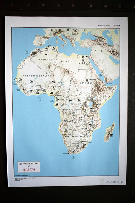 1940s Map of Africa - 14.25