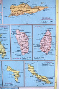 "1940s Map of Puerto Rico & Lesser Antilles - 14.25""x10.25"" - Hammond's Ambassador World Atlas - Printed in the USA - Antique Maps to Frame"