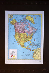 "1940s Map of North America - 14.25""x10.25"" - Hammond's Ambassador World Atlas - Printed in the USA - Antique Maps to Frame"